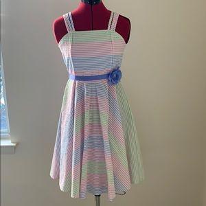 Girl's Easter pastel seersucker dress